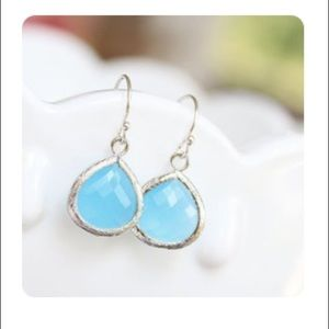 Aqua Sterling Silver Drop Earrings